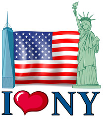 I love New York banner with American flag and buildings