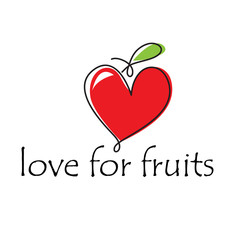 Vector abstract greengrocer and vegan. Apple and heart, love for fruits