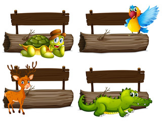 Wooden signs with many animals