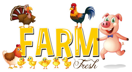 Font design for farm with pig and chickens