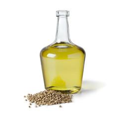 Bottle with hemp oil and hemp seed