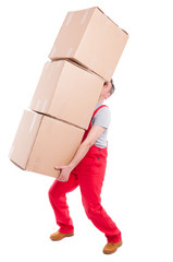 Guy lifting or holding bunch of heavy cardboard boxes
