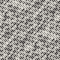 Vector Seamless Black And White Irregular Dash Rectangles Grid Pattern. Trendy Monochrome Texture.