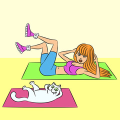 aerobics with the cat. vector illustration