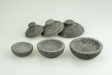 close up of bowls made of stone from Indonesia