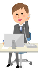 ビジネスマン PCと電話