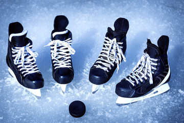 Skates for winter sports in the open air on the ice.