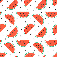 Flat design watermelon slices with seeds seamless pattern background.