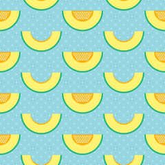Flat design melon slices and polka dots seamless pattern background.