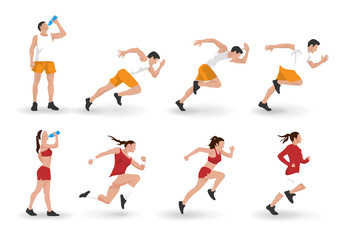 Vector illustration of young adult man and woman fitness characters running and resting