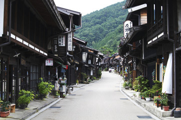 Street with Traditional Japanese Houses