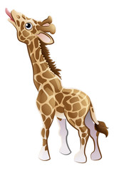 Feeding Giraffe Animal Cartoon Character