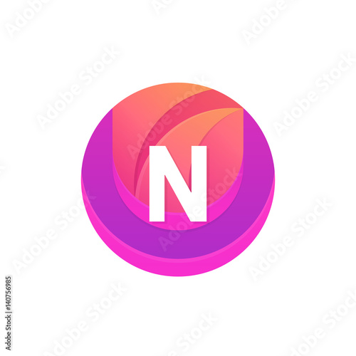""""""" Letter N Logo Abstract Circle Shape Element. Vector Round"""