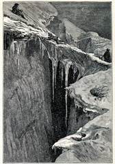 Glacier with deep crevasse and ice bridge (from Meyers Lexikon, 1895, 7/656/657)