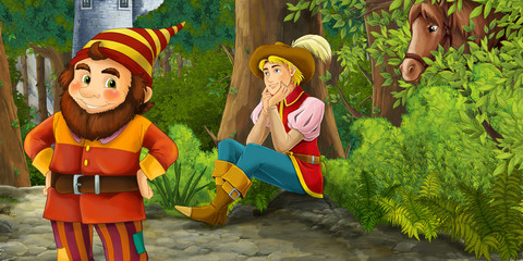 Cartoon fairy tale scene with prince encountering hidden tower and dwarf illustration for children