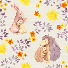 Mother rabbit and mom hedgehog embrace baby animal. Watercolor painted seamless pattern