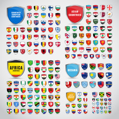 Big set of shields with the flags of the countries of South and North America, Africa, Asia, Europe and Oceania