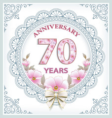 Anniversary card with 70 years in a frame with an ornament and flowers. Vector illustration