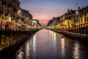 Keuken foto achterwand Milan Milan city spirit Italy - sunset at Navigli