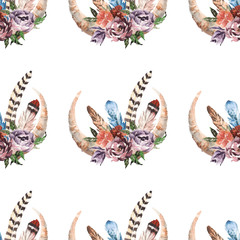 Boho watercolor seamless pattern with bouquet with feathers, flowers