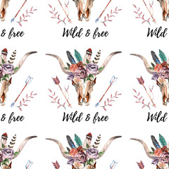 Watercolor boho skull Boho watercolor seamless pattern with feathers, flowers