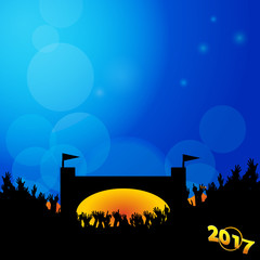 Music festival background 2017 with stage and crowd