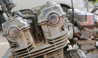 Side view of an old classic motorbike engine. Old motorbike engine.