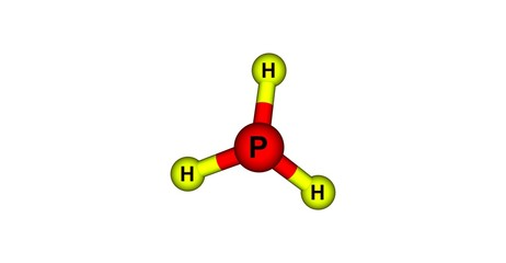 Phosphine molecular structure isolated on white