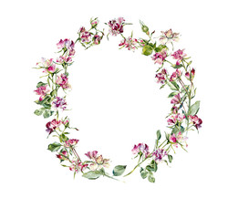 Circle frame from roses. Wedding drawings. Greeting cards. Flower backdrop. Place for your text. Watercolor hand drawn illustration