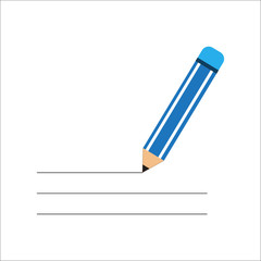 pencil blue color isolated vector