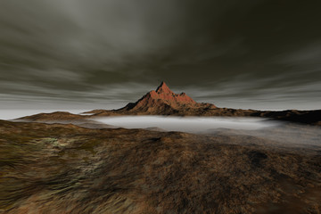 Fog on the valley, a martian landscape, rocky mountain, and a cloudy sky.