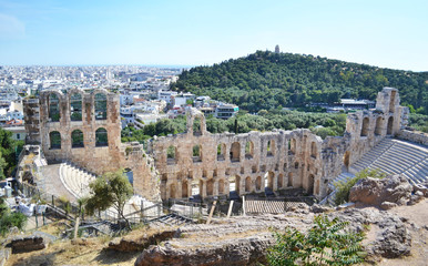 the theater of Herodes Atticus in Athens city Greece