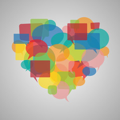 Speech bubbles heart