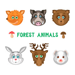 Vector illustration of forest animals: fox, boar, bear, rabbit, moose, weasel. Isolated on transparent background