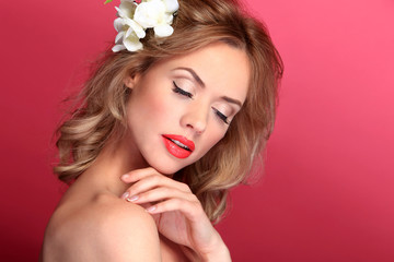 beauty model and white flower and nice make up