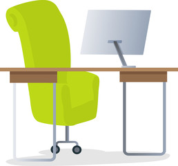 Workplace with Computer Vector Illustration.