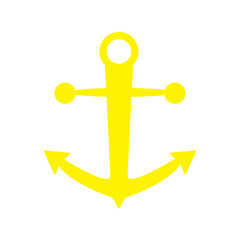 anchor icon yellow color isolated vector