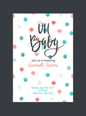 Baby shower invitation, vector template. Bright card with watercolor dots and hand drawn text on white background.