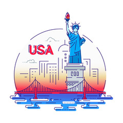 USA - modern vector line travel illustration