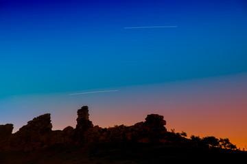 Teufelsmauer im Harz in der blauen Stunde