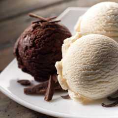Scoops of Chocolate and Vanilla Ice Cream on Plate