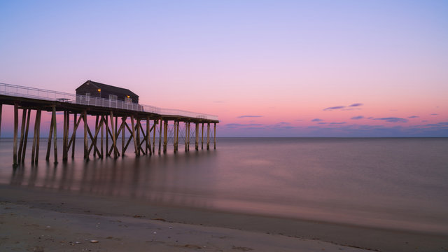 Sunset at Belmar Fishing Pier in New Jersey