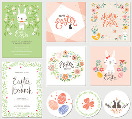 Vector Happy Easter templates with eggs, flowers, floral frames and wreaths, rabbit and typographic design. Good for spring and Easter greeting cards and invitations.
