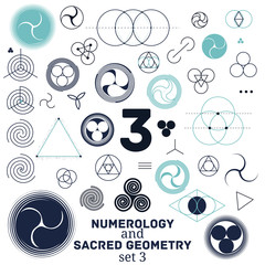 Sacred geometry and numerology symbols vector illustration.