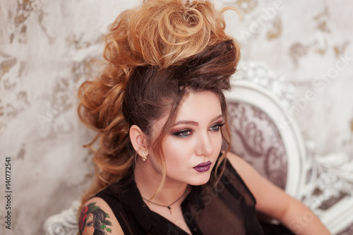 Fashion Shiny Makeup Beauty Woman With Mohawk Hairstyle Blonde Sexy Model Girl With Long Hair