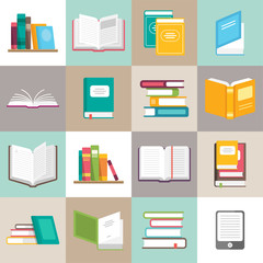 Icons of books vector set in a flat style