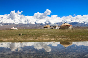 Yurts on Karakul Lake. Kashgar Region, China