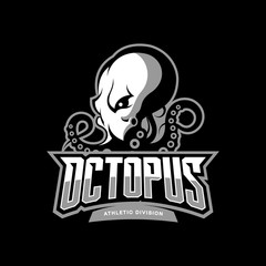 Furious octopus sport vector logo concept isolated on dark background. Modern professional team badge design.