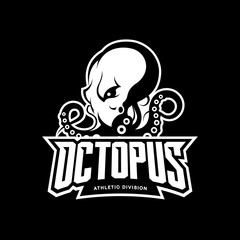 Furious octopus mono sport vector logo concept isolated on dark background. Modern professional team badge design.