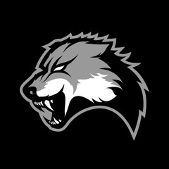 Furious wolf sport vector logo concept isolated on dark background. Modern predator professional team badge design.